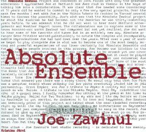 Absolute Zawinul (Sunnyside Records)